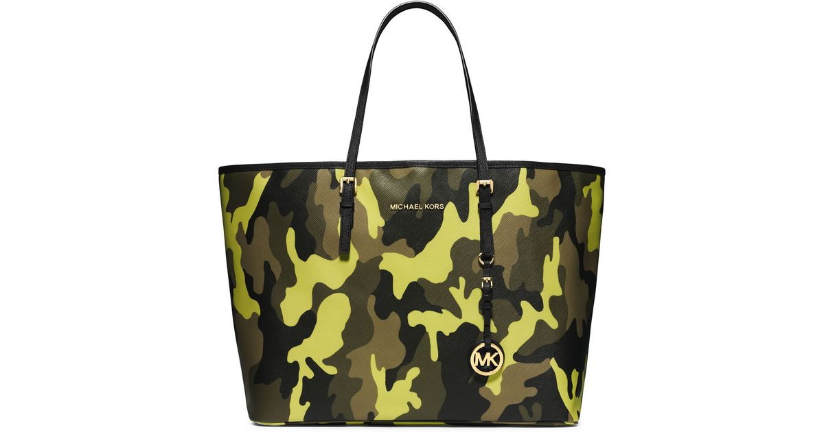 97d189e34a04 MICHAEL Michael Kors Medium Jet Set Camo Travel Tote in Yellow - Lyst
