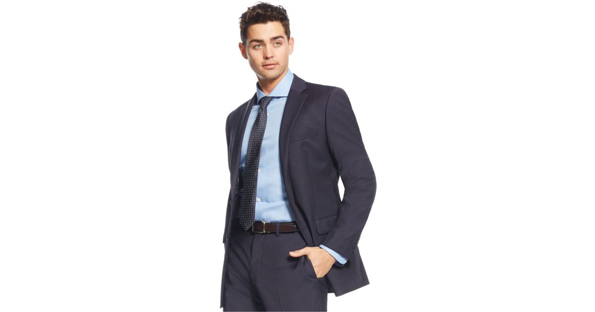Calvin klein x fit navy solid extra slim fit jacket in for Calvin klein x fit dress shirt