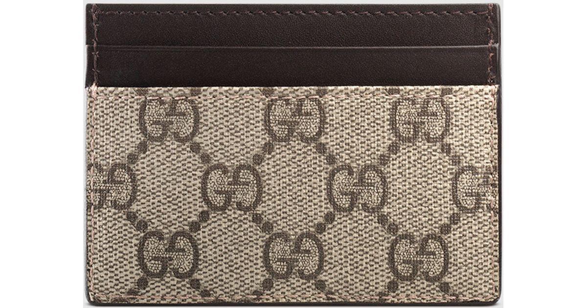 562e0e15b Gucci Gg Supreme Card Case in Natural - Lyst