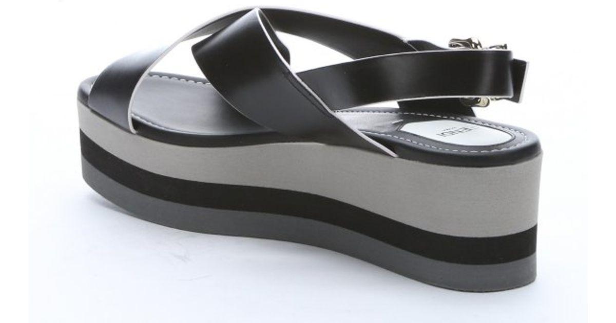 fendi black and white leather platform sandals in