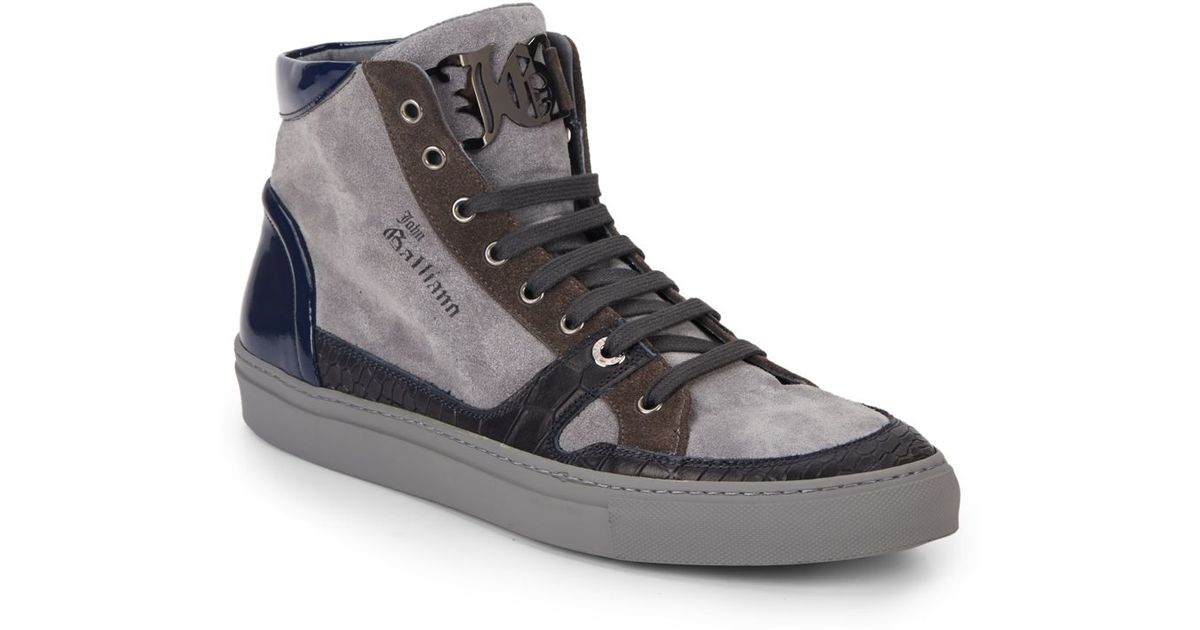John galliano Suede & Leather High-top Sneakers in Gray ...