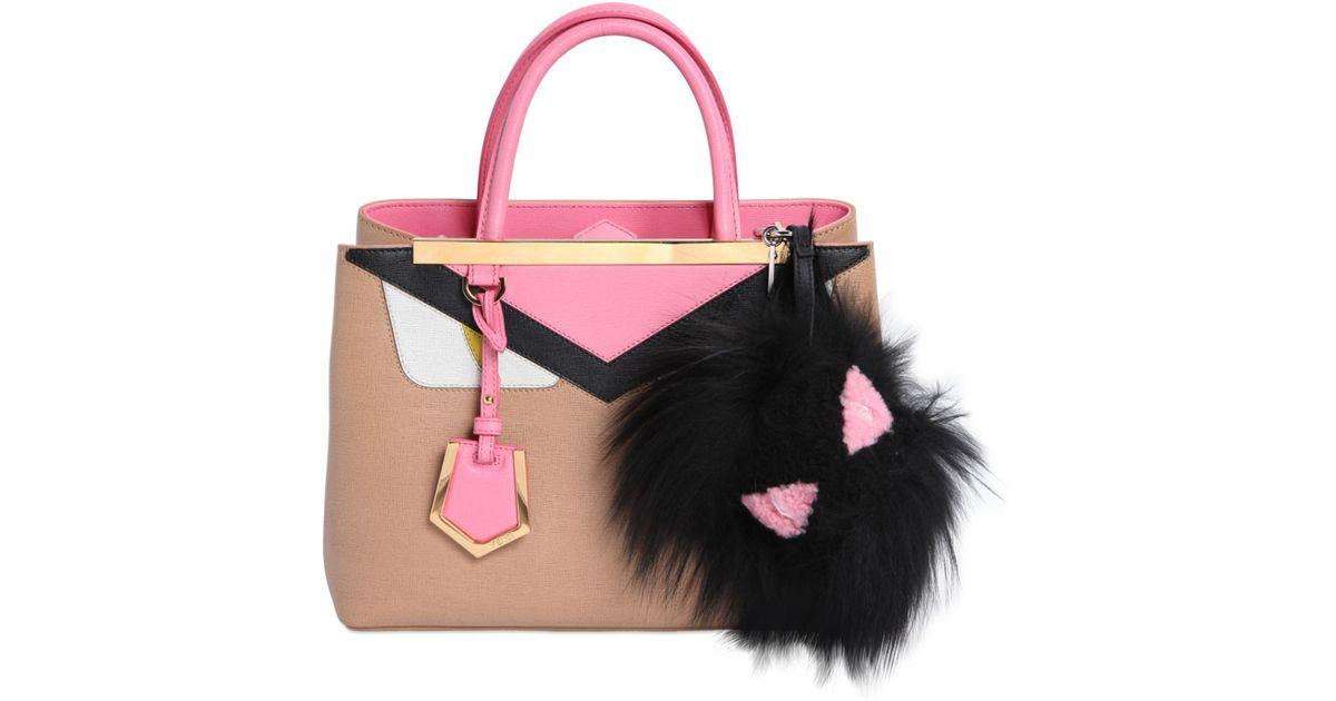 334cabf5de Lyst - Fendi Bag Monster Shearling   Fox Fur Charm in Black