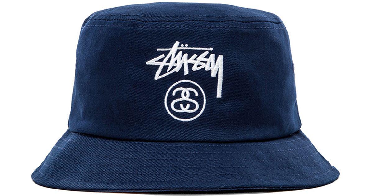 8c3cb43973e Lyst - Stussy Stock Lock Ho14 Bucket Hat in Blue for Men