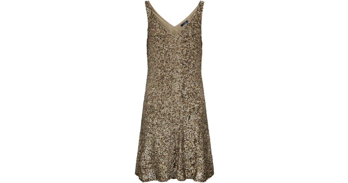 20eaaca3 Polo Ralph Lauren Sequin Quincy Dress in Metallic - Lyst