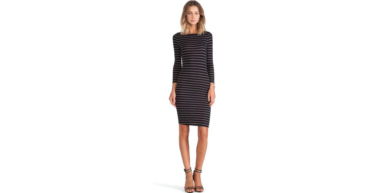 Lyst Bcbgmaxazria Long Sleeve Striped Dress In Black
