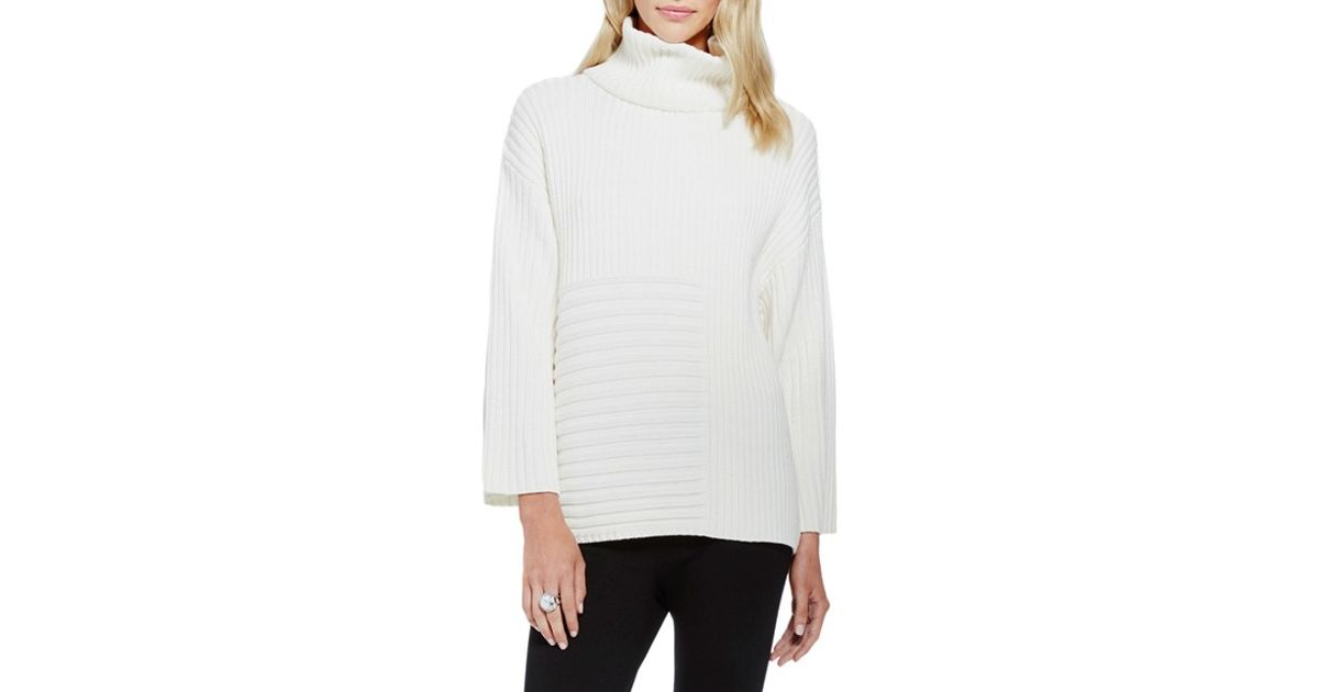 8d1f4ede0c8 Lyst - Vince Camuto Ribbed Turtleneck Sweater in White