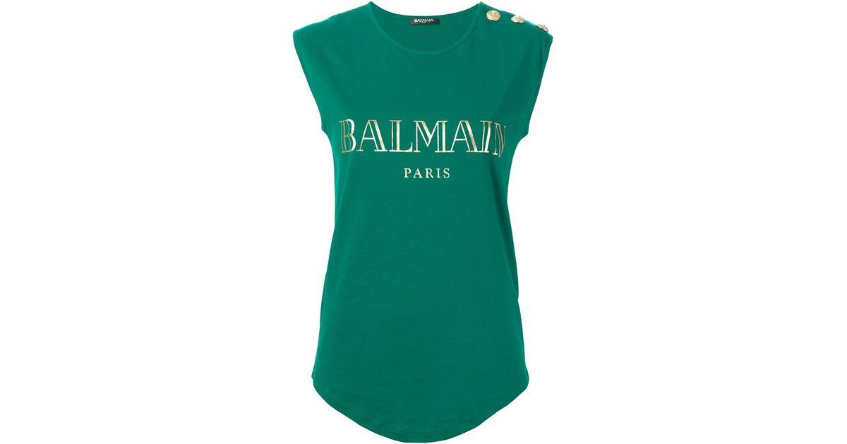 2fb240096b1b23 Balmain Logo-Print Tank Top in Green - Lyst