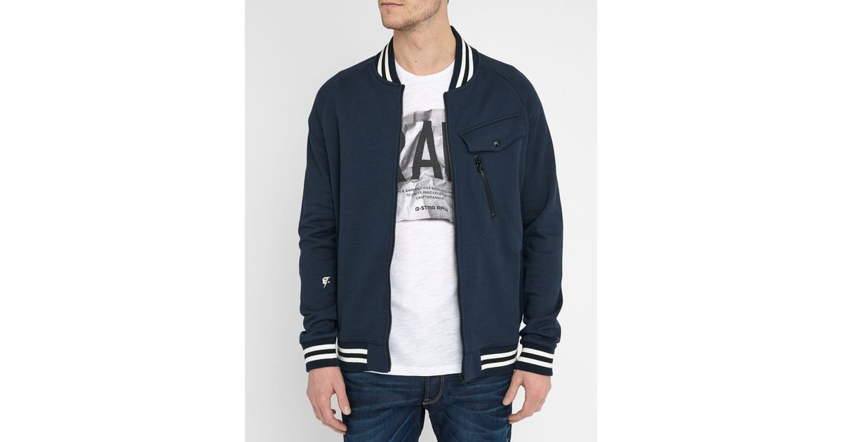 g star raw navy frockt quilted bomber jacket in blue for men lyst. Black Bedroom Furniture Sets. Home Design Ideas