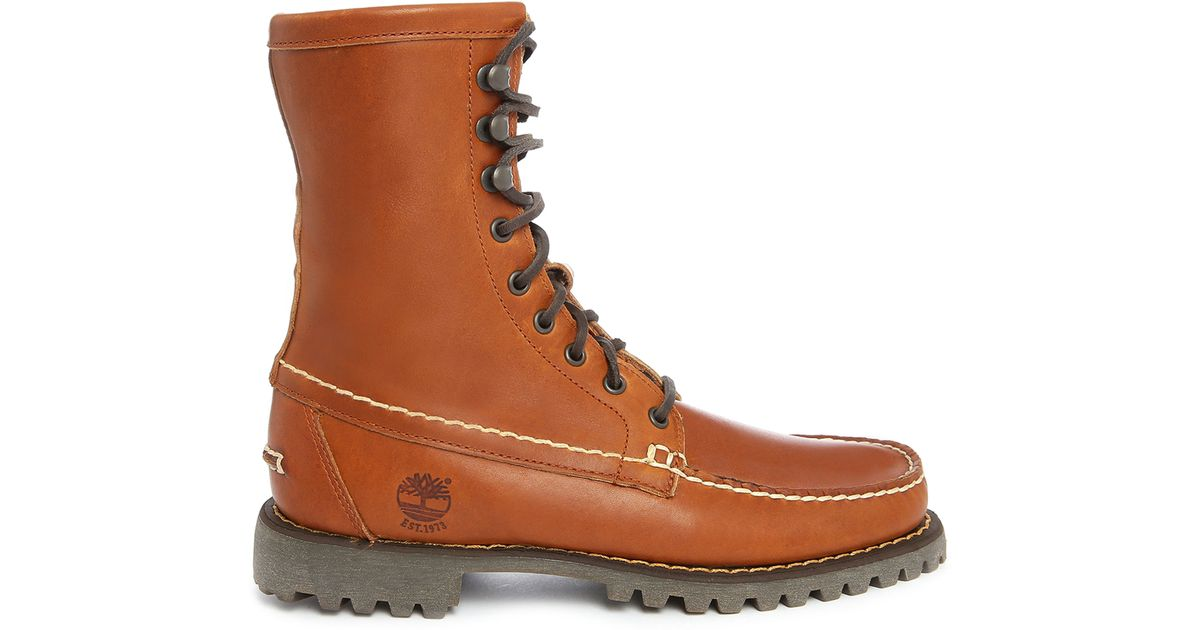 timberland authentics 8 inch leather boots in brown for