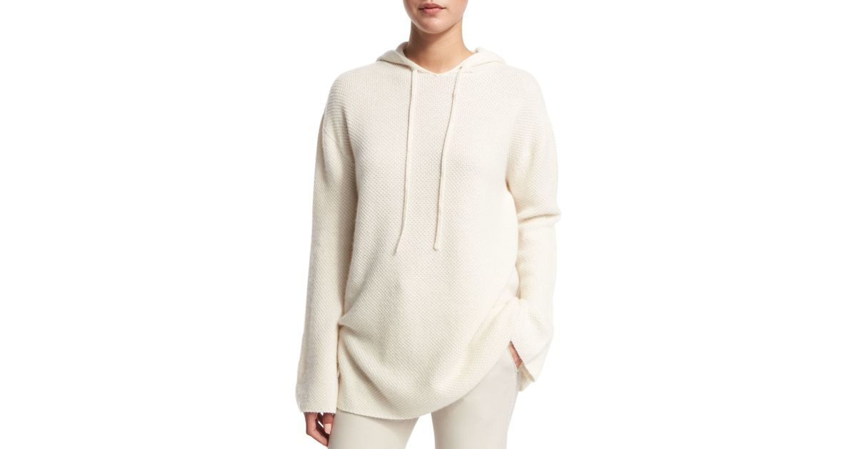 Lyst helmut lang cashmere hoodie sweater in natural for Sweatshirt kleid lang