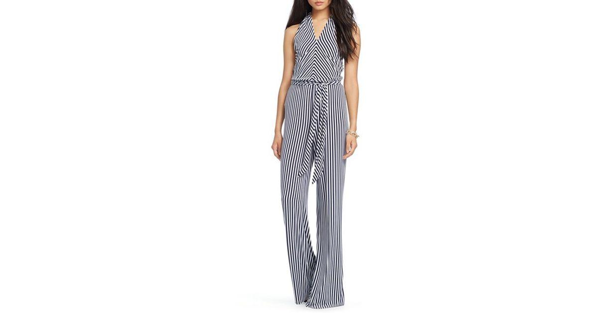 ce5112632fbe Lyst - Lauren by Ralph Lauren Stripe Jersey Wide Leg Halter Jumpsuit in Blue