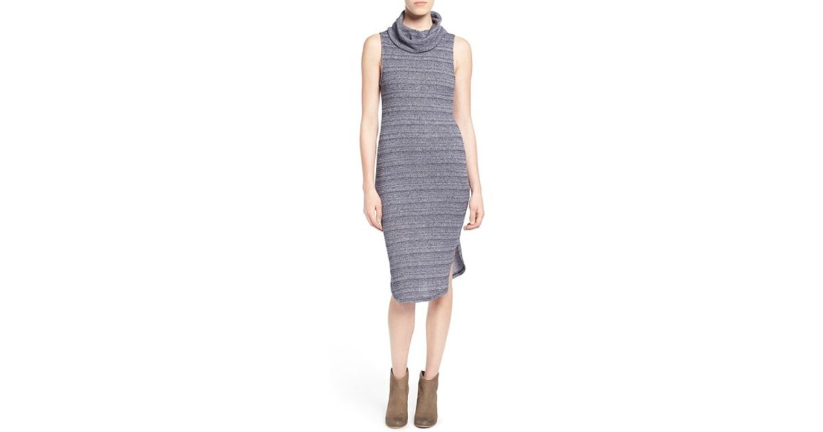 640afdee505a Lush Sleeveless Turtleneck Sweater Dress in Blue - Lyst