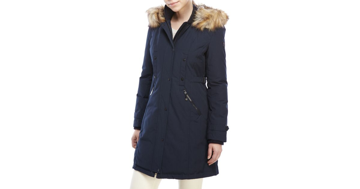 Vince camuto Faux Fur-Trim Hooded Down Parka in Blue | Lyst