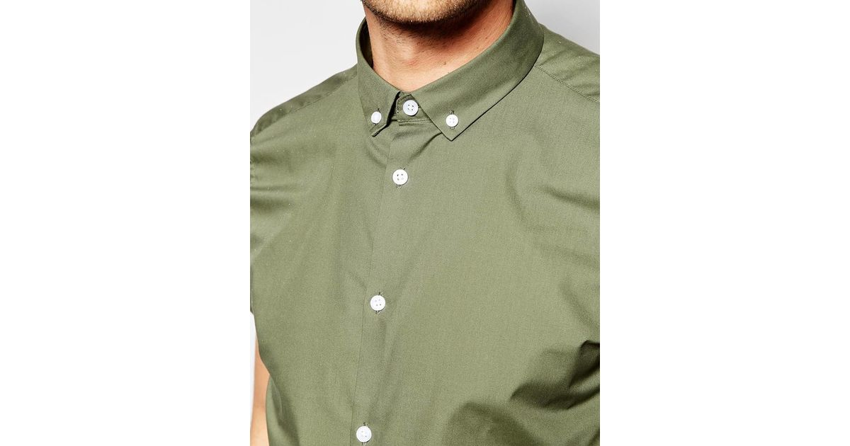Asos smart shirt in light khaki with button down collar in for Khaki pants light blue shirt