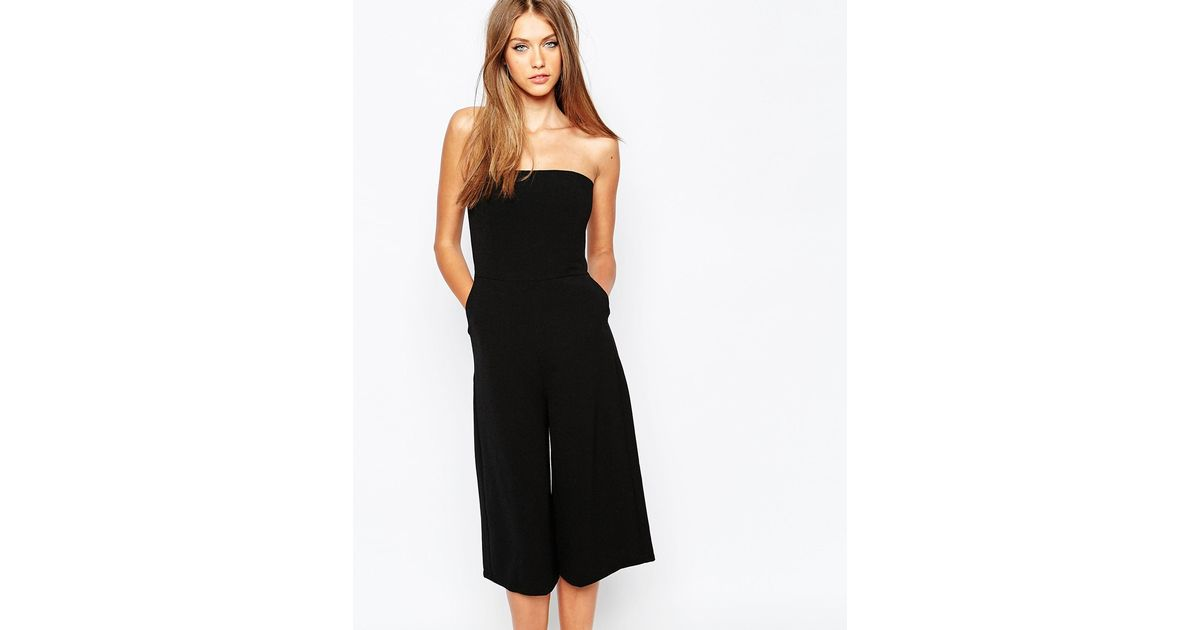 2fe2b1418962 Missguided Bandeau Culotte Jumpsuit in Black - Lyst