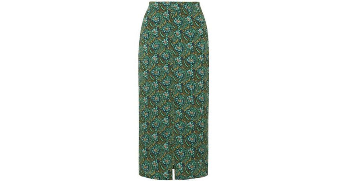 topshop floral split front midi skirt in green lyst