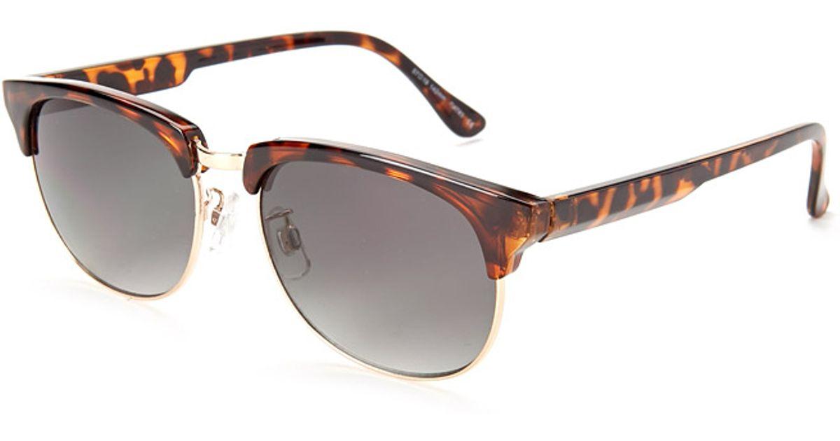 b435b13665 Forever 21 Tortoise Clubmaster Sunglasses in Metallic - Lyst