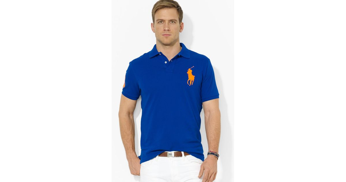 Lyst - Ralph Lauren Polo Customfit Big Pony Mesh Polo Shirt in Blue for Men