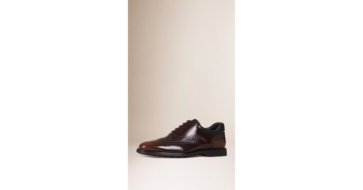 245dff32731 Lyst - Burberry Cushion Detail Leather Wingtip Brogues Bitter Chocolate in  Brown for Men
