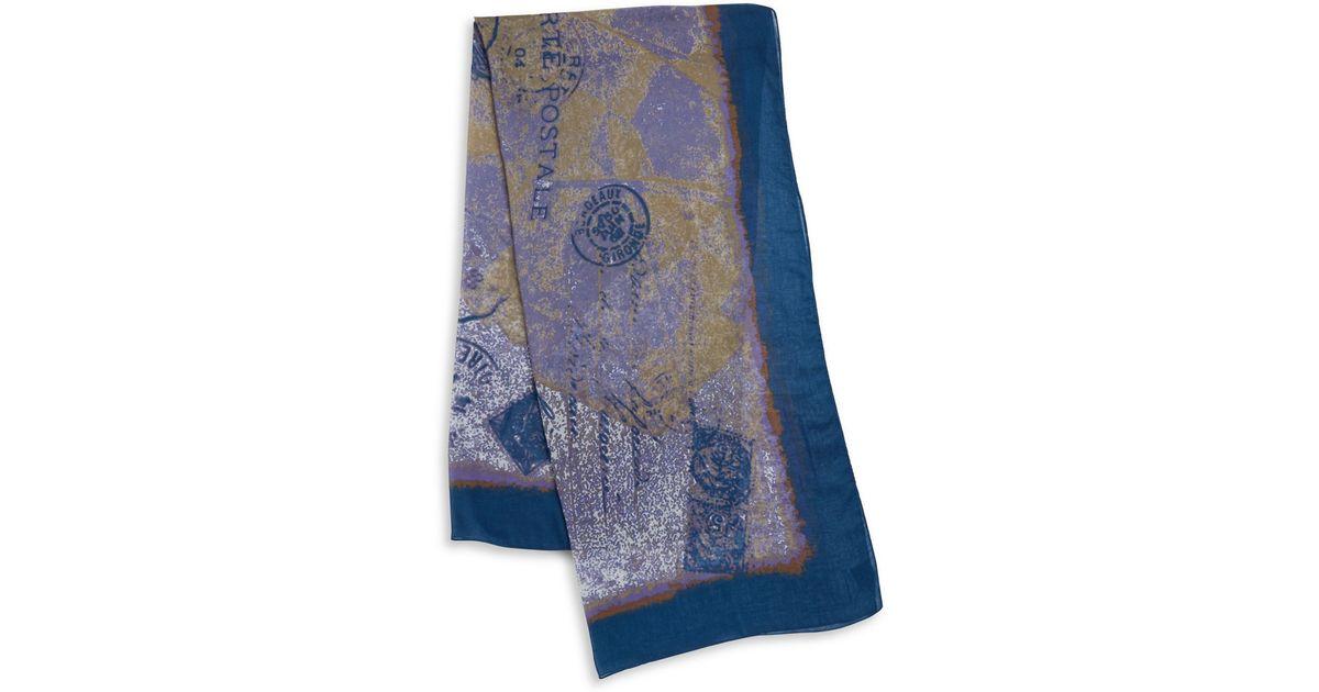 lord postmark print scarf in blue lyst