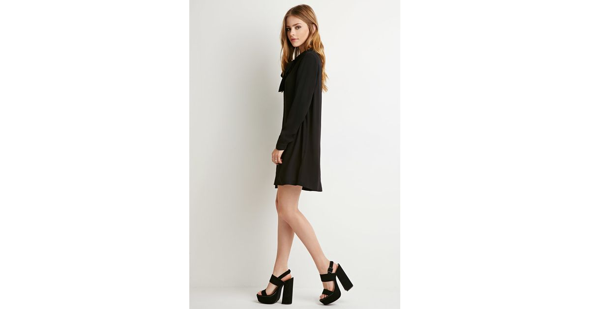 7b43e73f0ee Lyst - Forever 21 Self-tie Bow Shift Dress You ve Been Added To The  Waitlist in Black