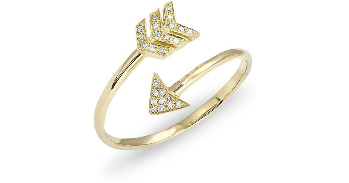Anne sisteron 14kt yellow gold diamond mini arrow wrap for Jewelry storm arrow ring