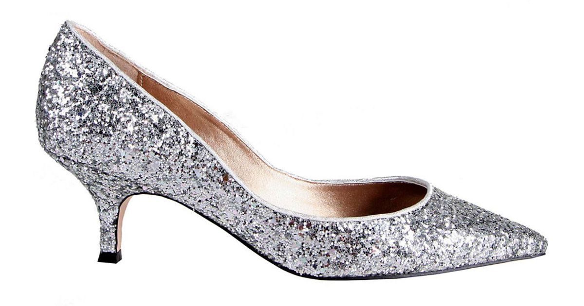 8f1f173bd94 Belle By Badgley Mischka Puma Glitter Kitten Heels in Metallic - Lyst