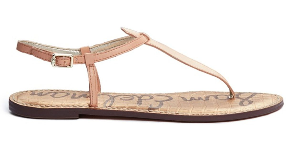 1b511c89b Sam Edelman  gigi  Leather T-strap Sandals in Pink - Lyst