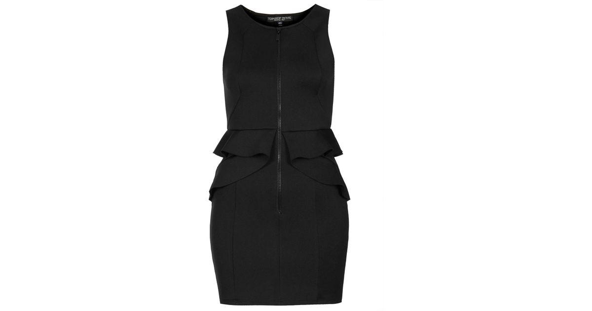 Lyst Topshop Petite Zip Front Peplum Bodycon Dress In Black