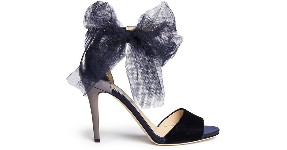 74e08f870474 Jimmy Choo  Lilyth 100  Tulle Bow Velvet Sandals in Blue - Lyst