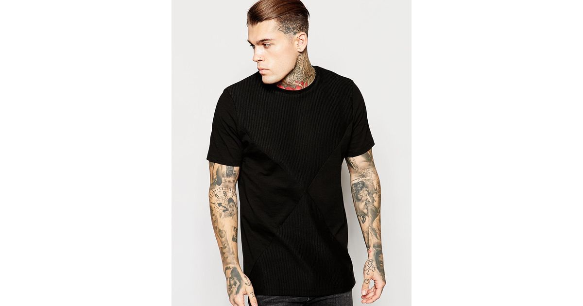 Lyst - Asos Longline T-shirt With Rib Cut And Sew Detail In Relaxed Skater  Fit - Black in Black for Men
