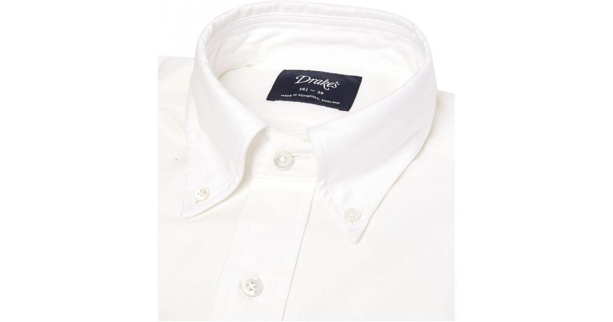 Drake 39 s white cotton shirt with button down collar in for White button down collar shirt