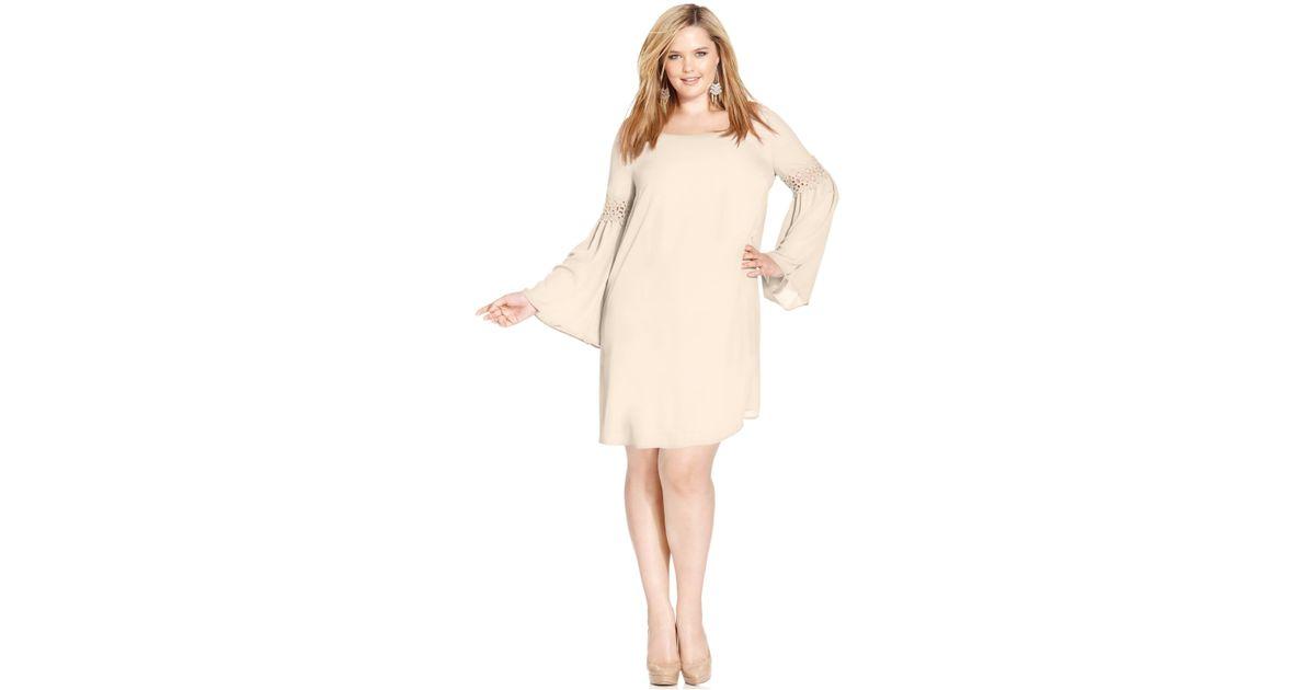 Soprano - Natural Plus Size Long-Sleeve Crochet Dress - Lyst