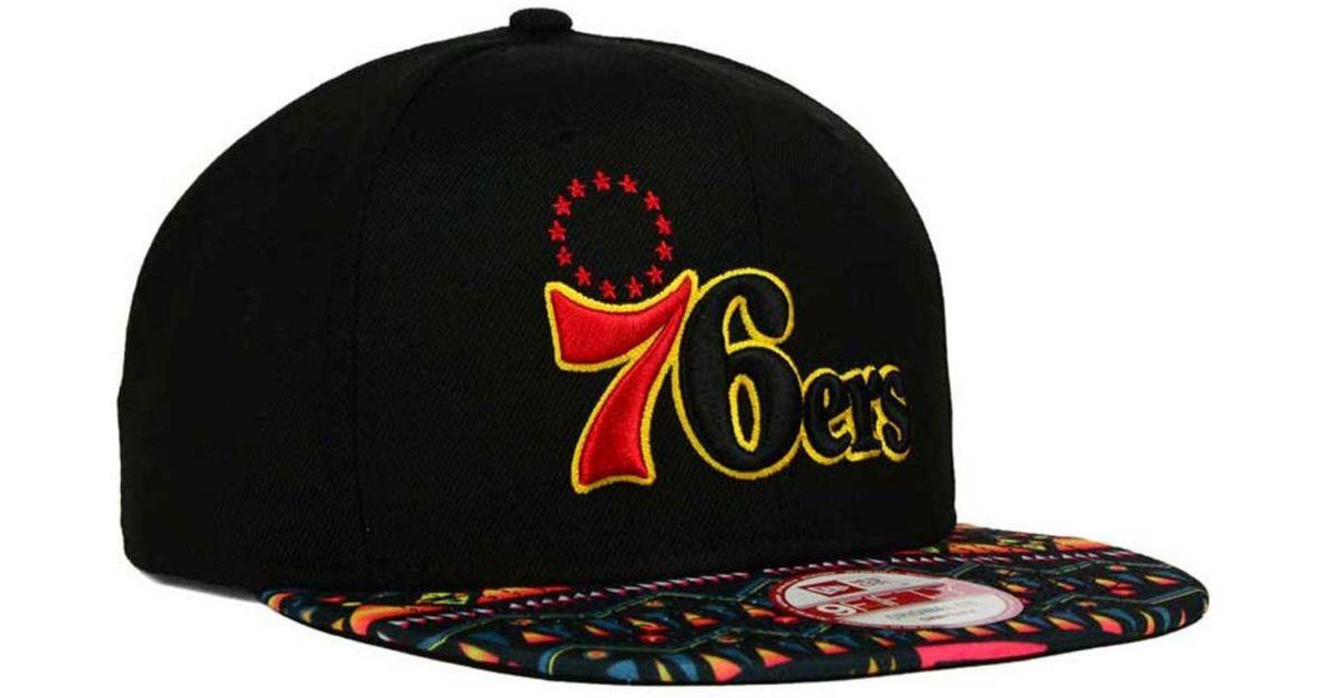 online store e8fe2 358e3 ... wholesale lyst ktz philadelphia 76ers tribe called 9fifty snapback cap  in black for men 71c95 da2d5