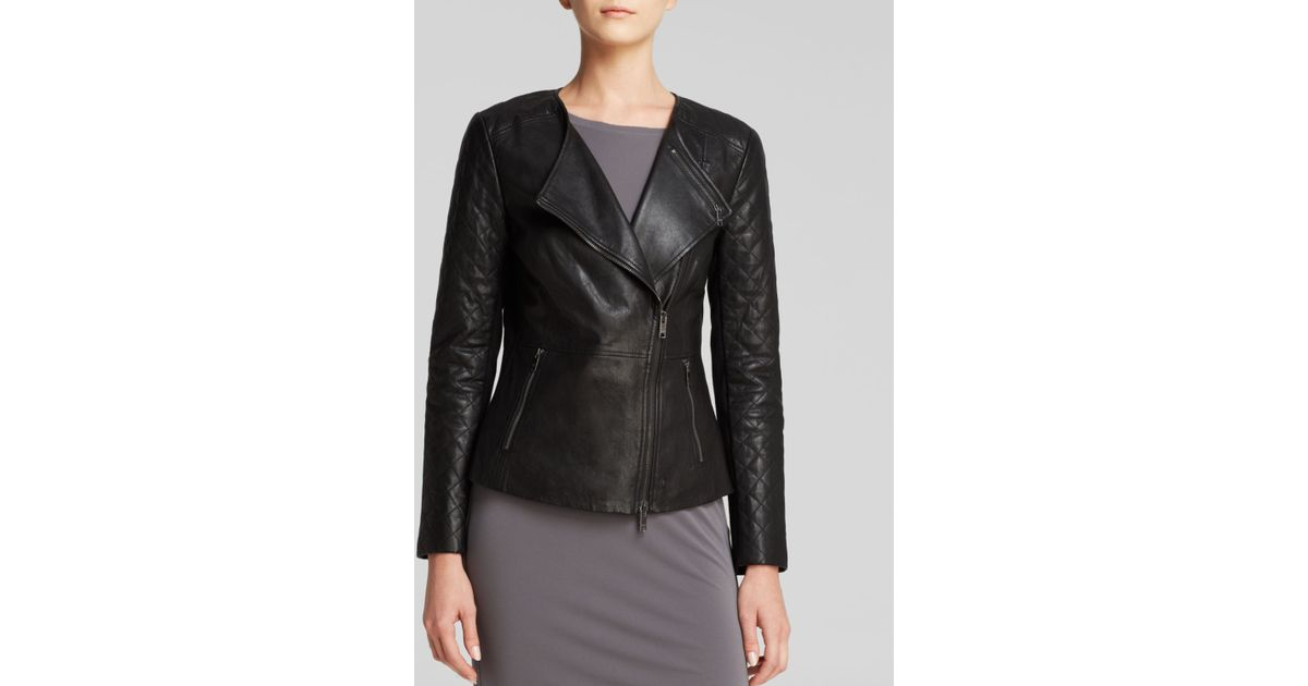 Lyst Dkny Quilted Sleeve Leather Jacket In Black