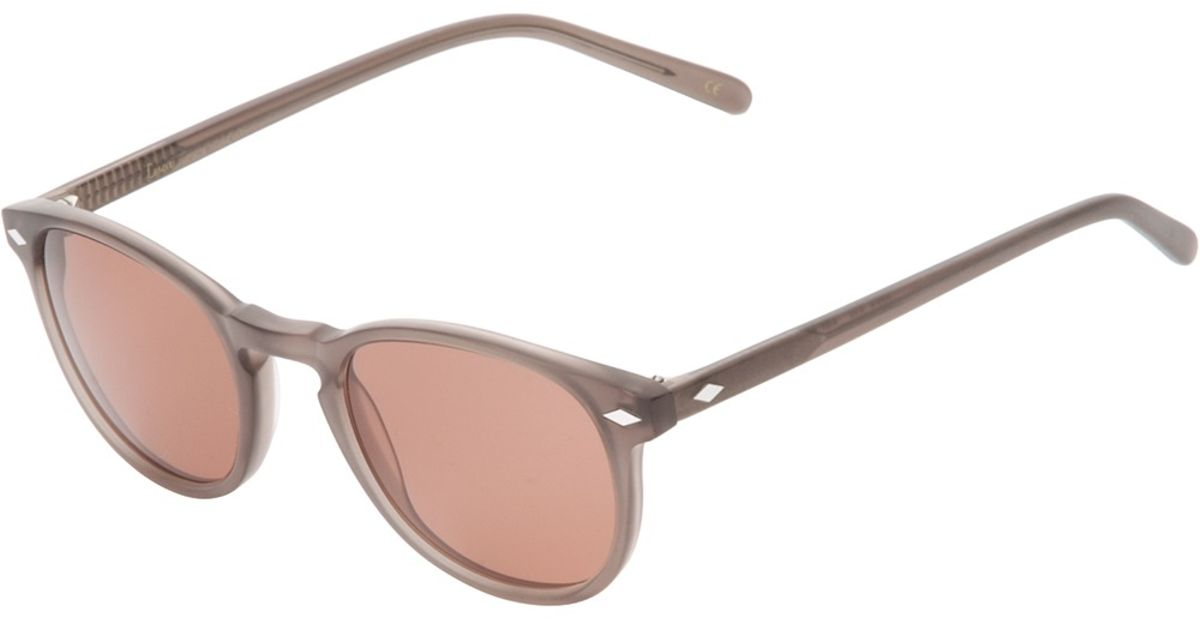Lyst - Lesca Circle Frame Sunglasses in Brown