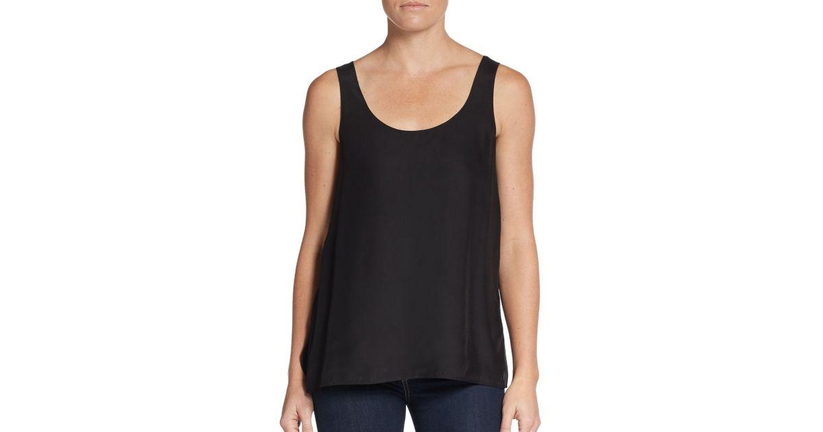 857c153ca272a Lyst - Vince Silk Tank Top in Black