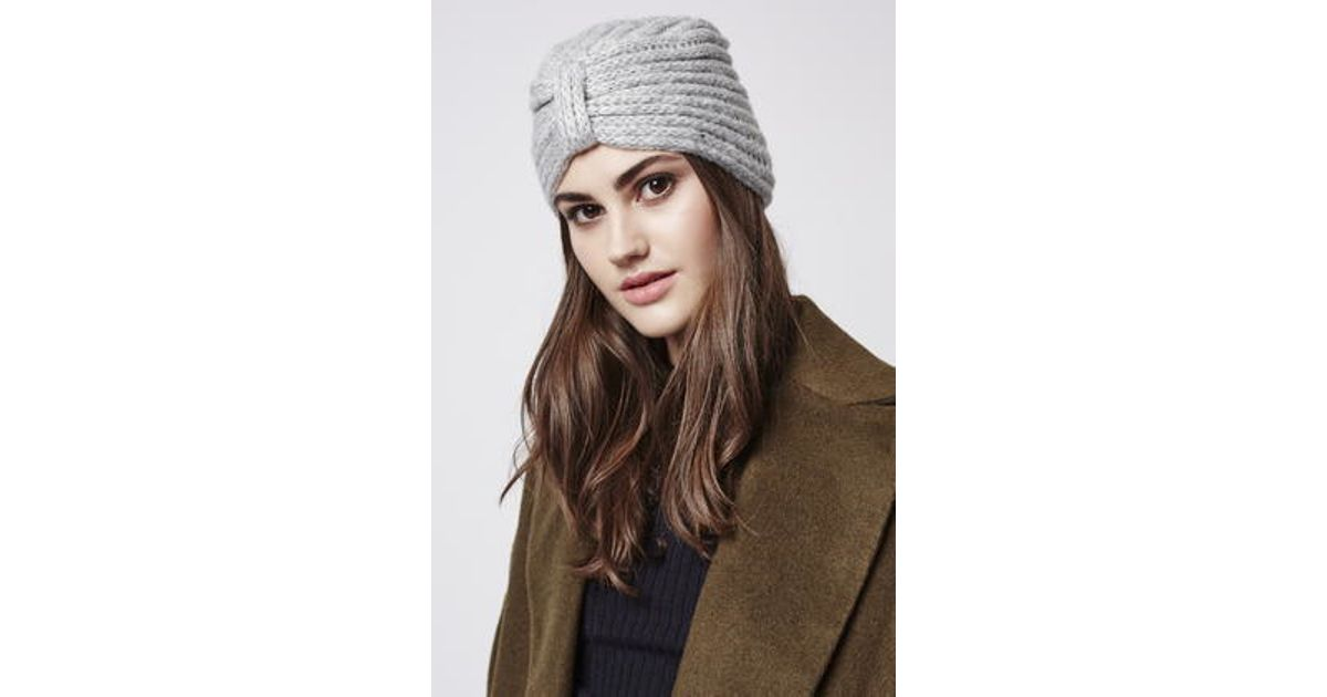 ec10455d666 Lyst - TOPSHOP Knitted Turban in Gray