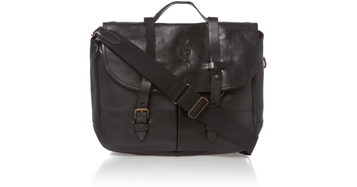 9aceea0ca053 Polo Ralph Lauren Leather Messenger Bag in Black for Men - Lyst