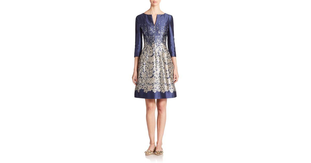 Lyst - Oscar De La Renta Lace-print Mikado Dress in Blue