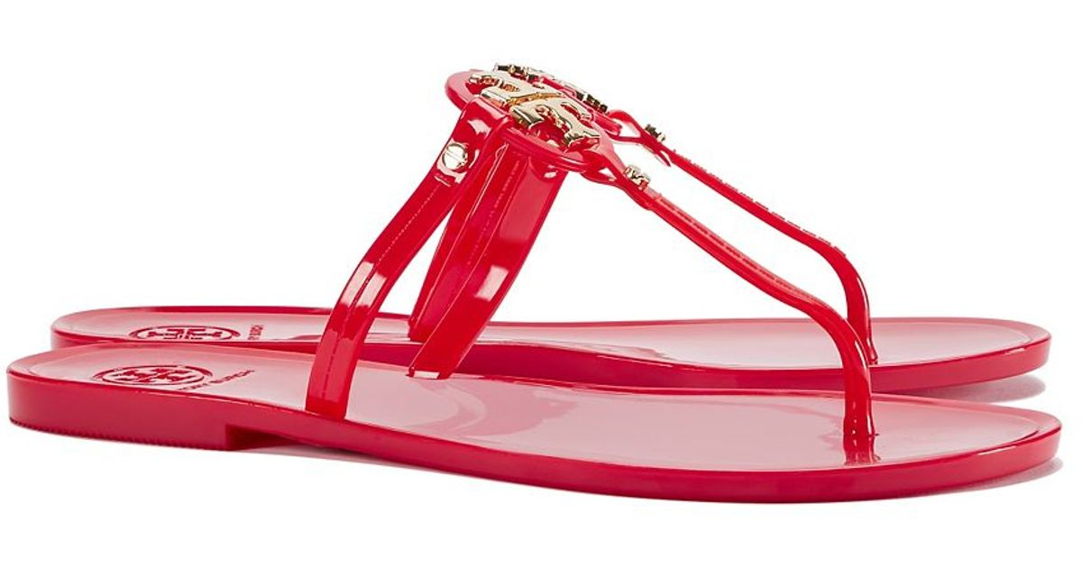 0d32f6b10096d2 Lyst - Tory Burch Mini Miller Jelly Thong Sandal in Red
