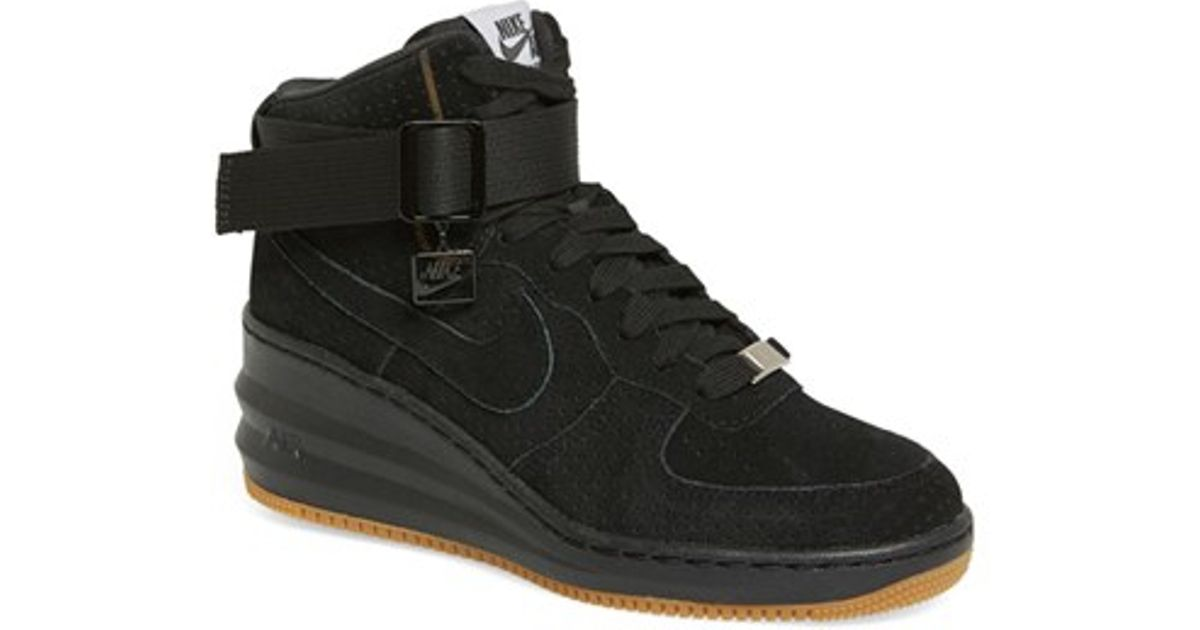 meet 50a80 01287 ... Nike  lunar Force Sky Hi  Wedge Sneaker in Black   Lyst Nike Lunar  Force 1 Sky Hi Ladies ...