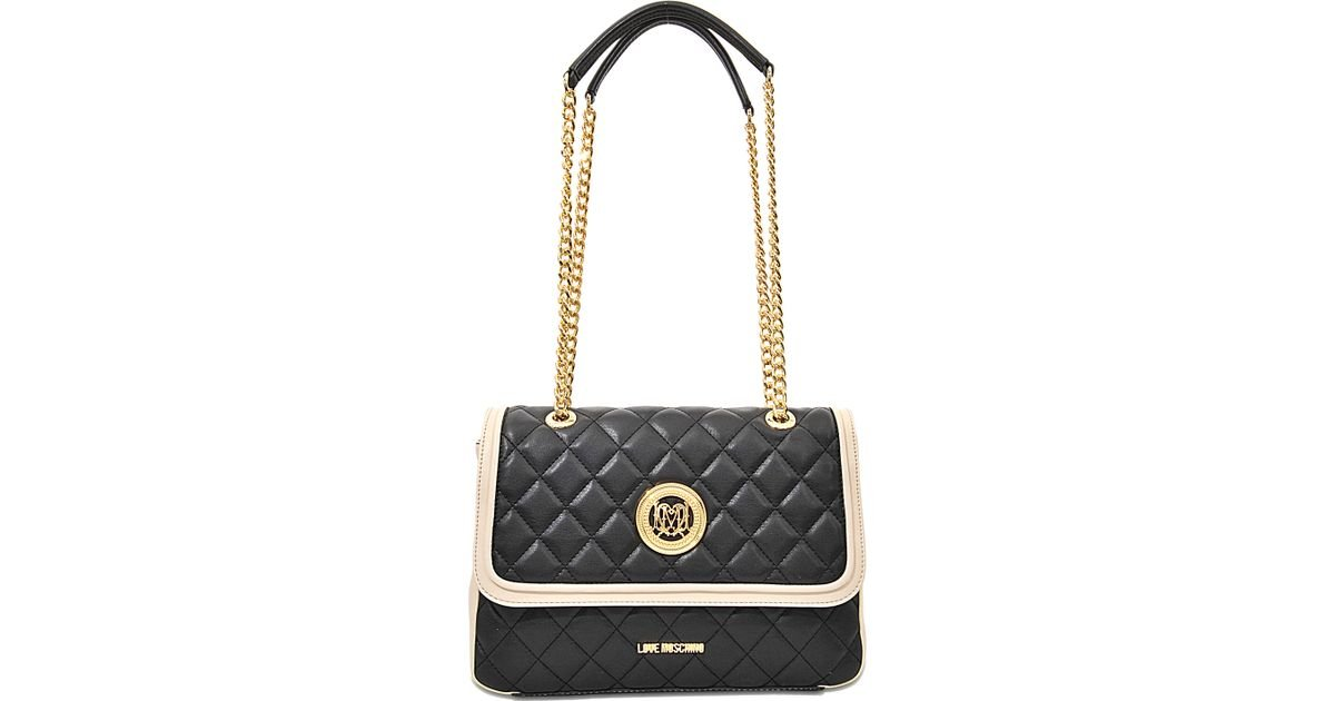 f759c935a2f9d Lyst - Love Moschino Super Quilted Flap Bag in Black