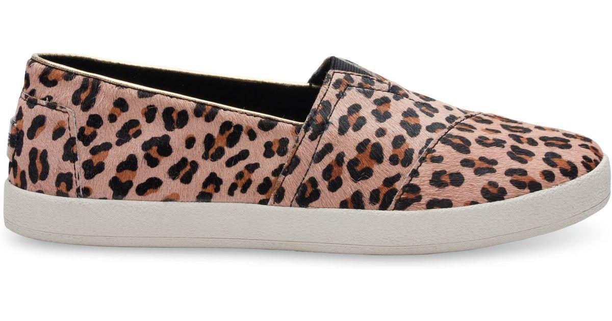 3080c613f4a TOMS Leopard Printed Calf Hair Women s Avalon Slip-ons - Lyst