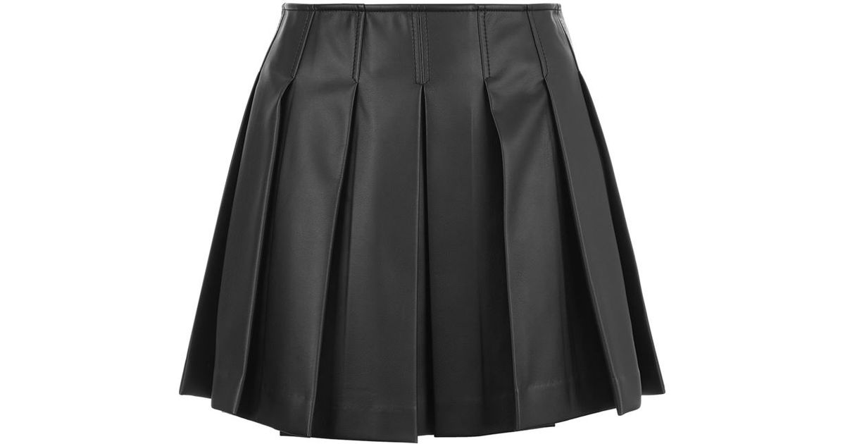 b005cfa20fe8 Armani Jeans Faux Leather Pleated Mini Skirt in Black - Lyst