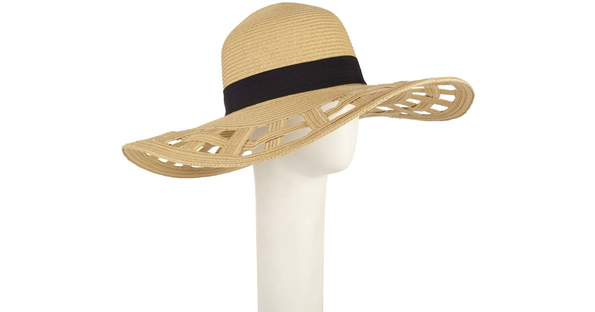 b5c0aec16eb John Lewis Cut Out Brim Floppy Hat in Natural - Lyst