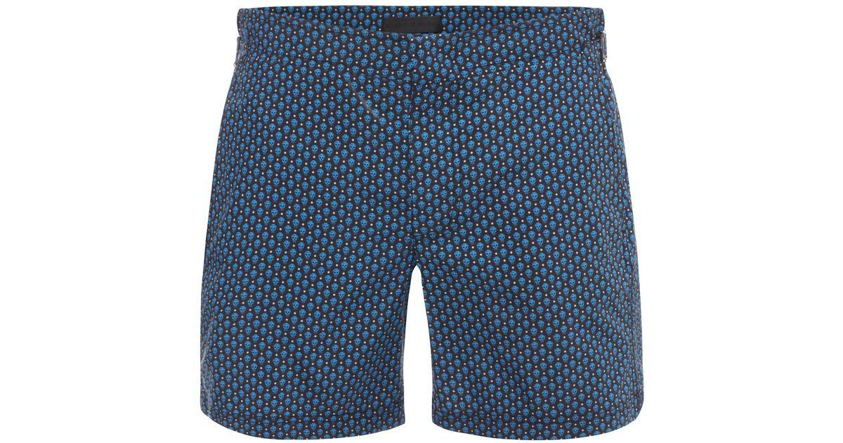 6bf0ae2897 Alexander McQueen Skull Polka Dot Swim Shorts in Blue for Men - Lyst