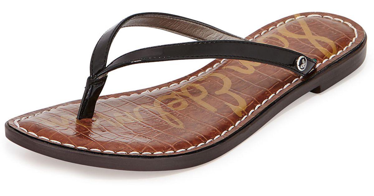 e6d53f61a1e4ba Lyst - Sam Edelman Gracie Patent Thong Sandal in Black