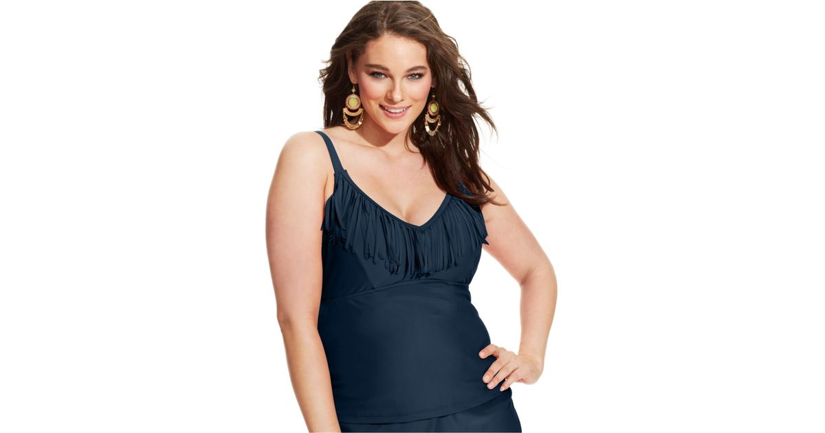 2cae47322d Lyst - Jessica Simpson Plus Size Fringed Tankini Top in Blue