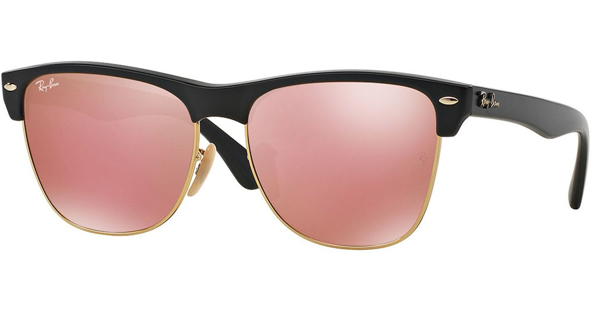 698da54b549 ... where can i buy lyst ray ban clubmaster sunglasses with mirror lens in  pink fe4c3 05439